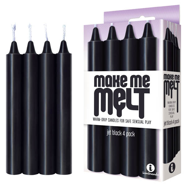 Make Me Melt Drip Candles 4 pk wax play black front image saucy hq