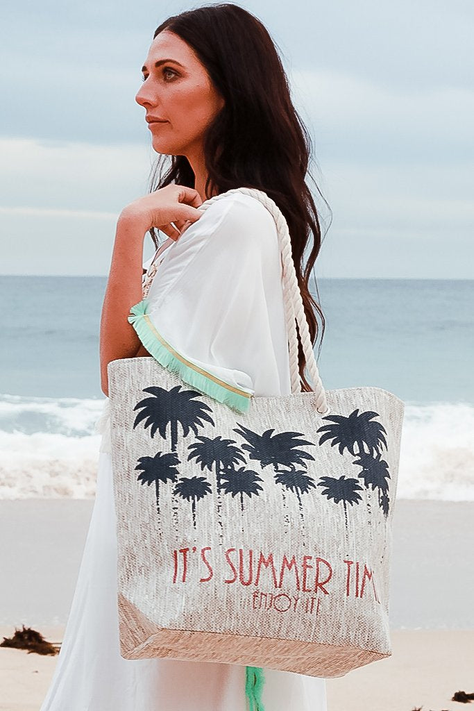 Summertime Beach Tote - Light Brown