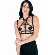 BRA025 Love In Leather Elastic Harness Front Image Saucy hq