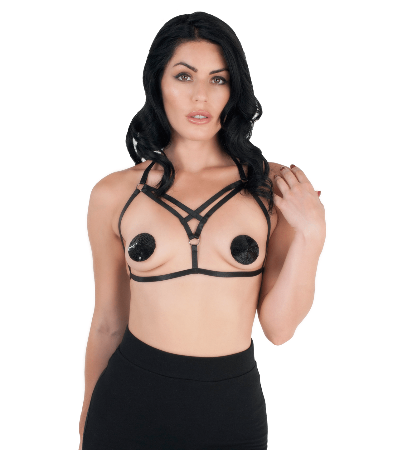 BRA0400 Elastic Harness love in leather front image saucy hq