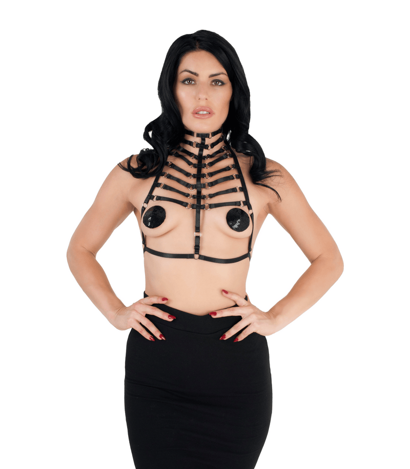 BRA0439 Elastic Harness Top Love in leather front image saucy hq