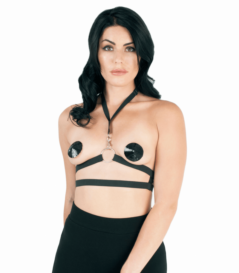 BRA101 Elastic Harness Love in leather front image saucy hq