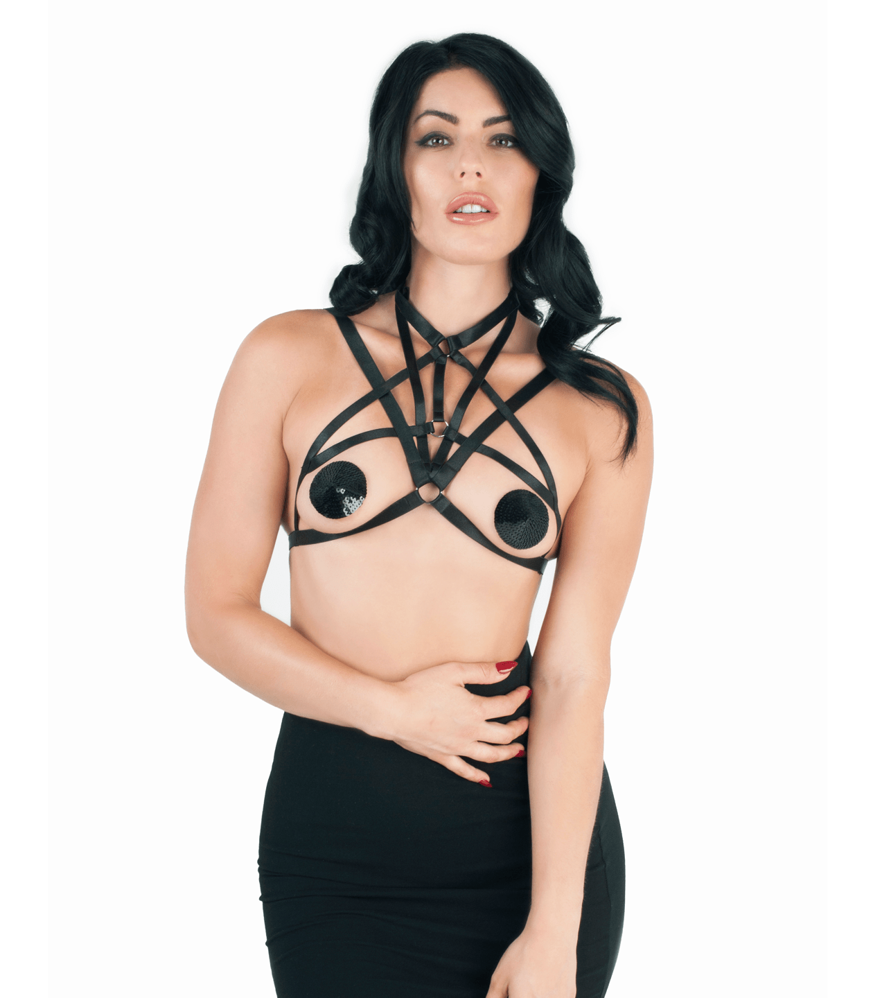 BRA346 Elastic Harness Top Love IN leather front image saucy hq