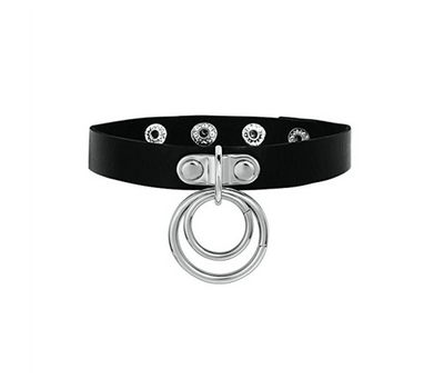 CHO001 faux leather love in leather double ring choker side image saucy hq