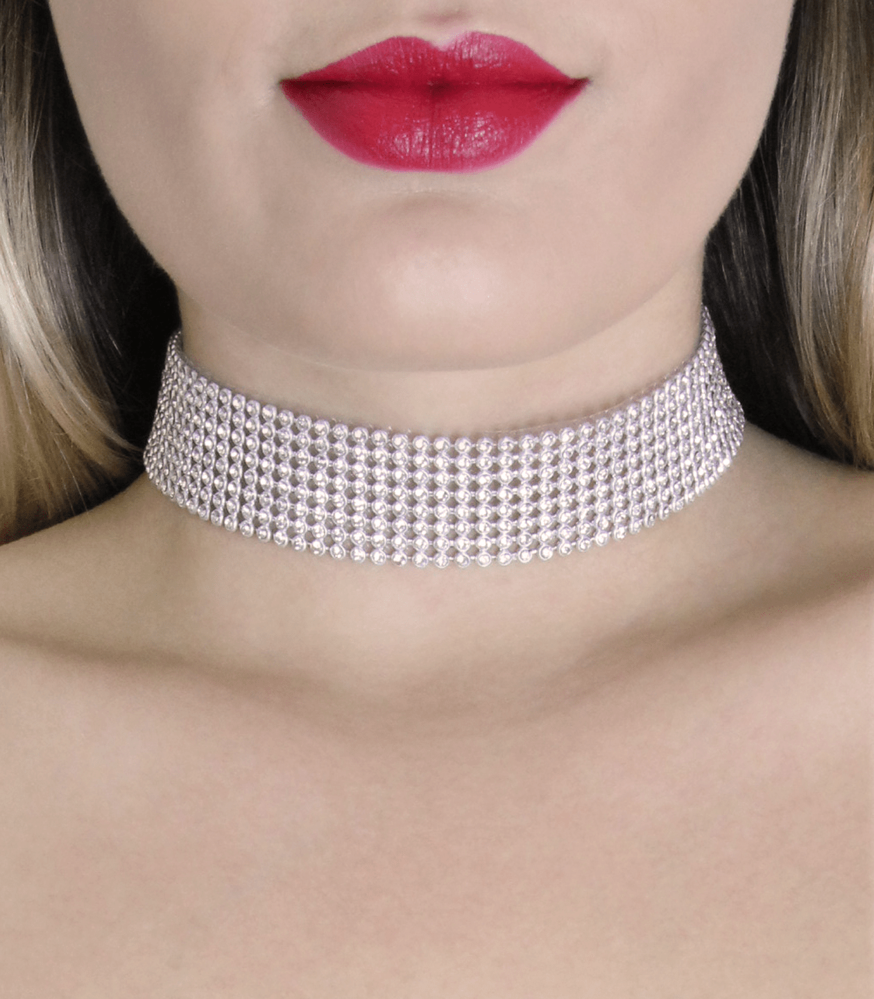 CHO016 diamond choker love in leather front image saucy hq
