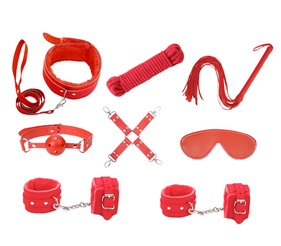 KIT001 9pce bondage kit love in leather red front image saucy hq