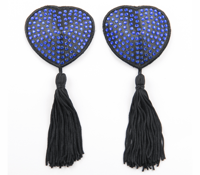 nipple covers blue black  tassels love in leather front image saucy hq