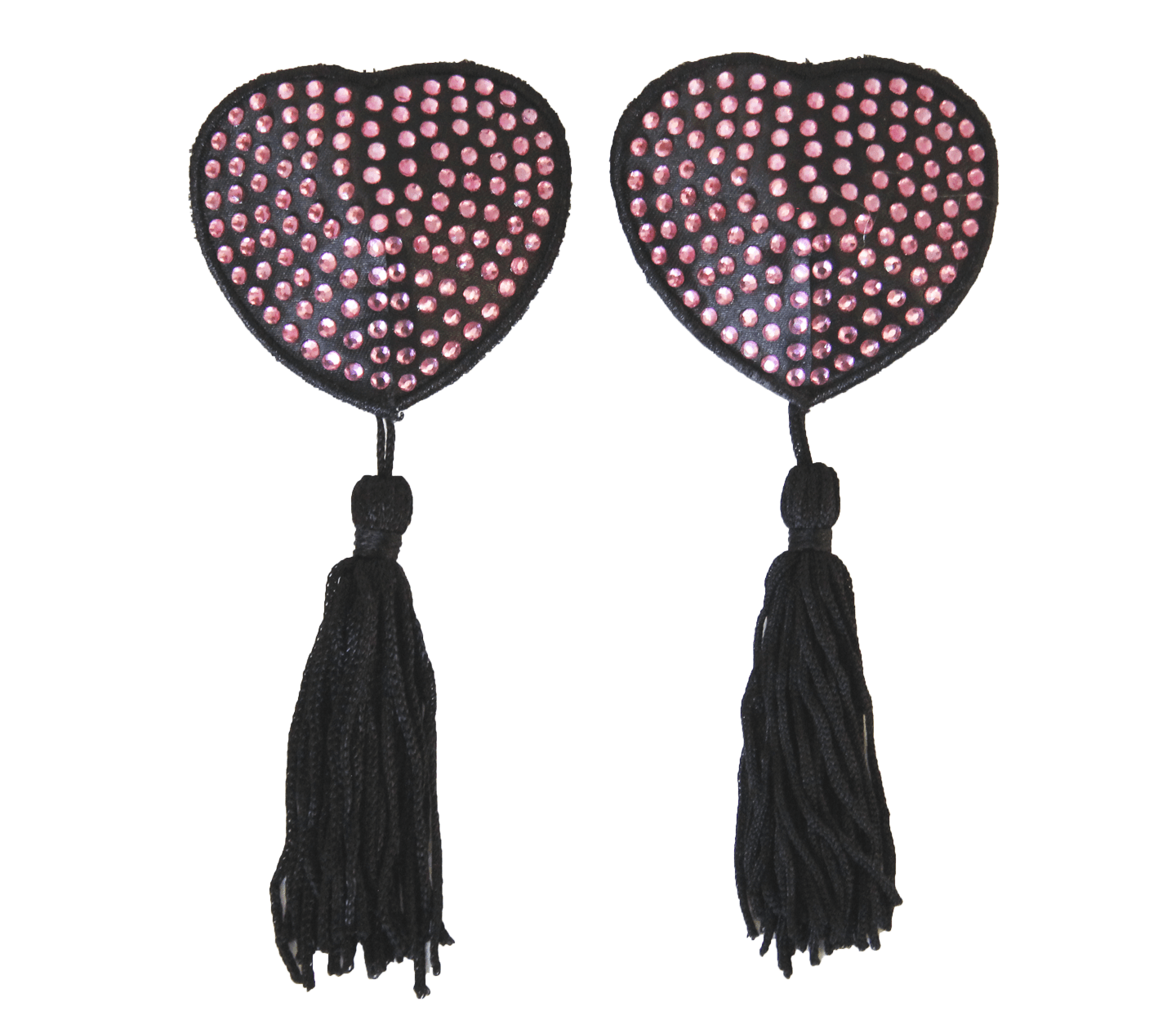 nipple covers pale pink black  tassels love in leather front image saucy hq