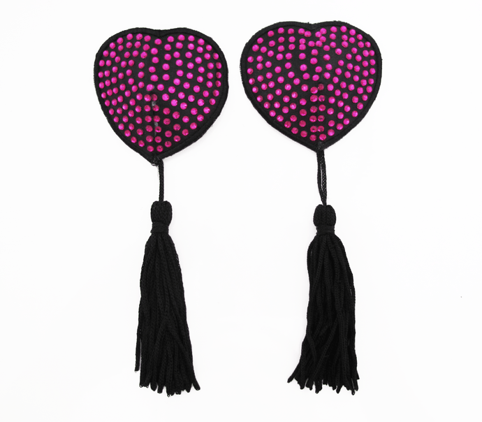 nipple covers magenta black tassels love in leather front image saucy hq