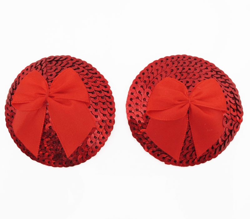 round sequin red satin bows nipple covers front image saucy hq