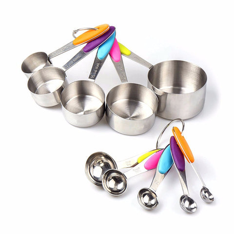 10 Piece Professional Grade Stainless Steel Measuring Cups and Spoons Set with Soft Silicone Handles for Easy Grip