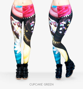 Cupcake closeup ankle length slimming leggings - MY CAKE PLACE
