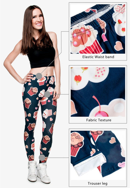 Dark cupcake ankle length slimming leggings - MY CAKE PLACE