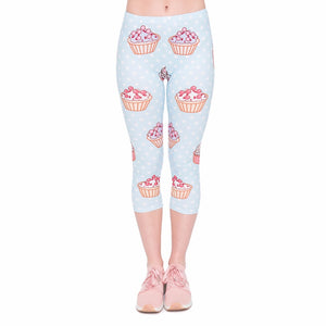 Polka dot cupcake capri length slimming leggings - MY CAKE PLACE