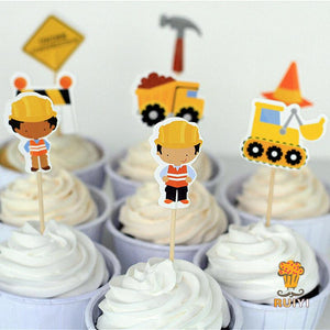 24 piece construction cake toppers cupcake picks - MY CAKE PLACE