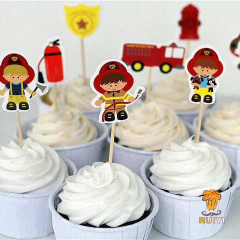 24 piece fireman cupcake picks toppers - MY CAKE PLACE