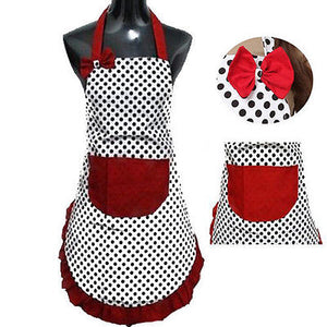 Cute vintage dress style bib apron with bow and pocket - MY CAKE PLACE
