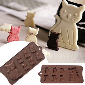 Cute cat 7 cavity mold for cake decorating, fondant, chocolate and crafts - MY CAKE PLACE