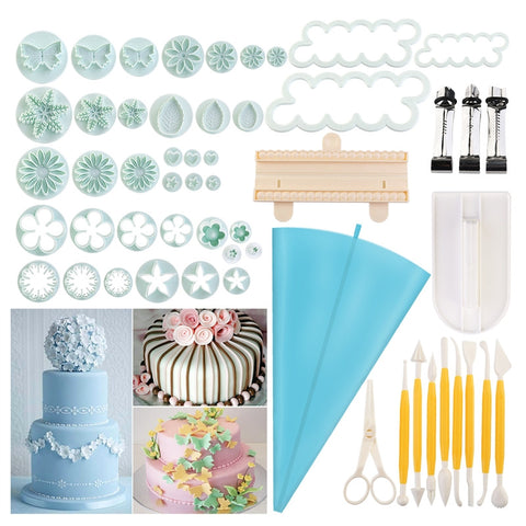 54pcs Cake Embossing Mold Set 18-Type Sugarcraft Plungers Cutters Tools Cake Fondant Decorating Supplies
