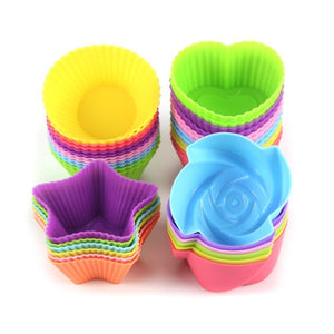 12 piece Silicone reusable heat resistant non stick Cupcake Muffin cups 12 styles - MY CAKE PLACE
