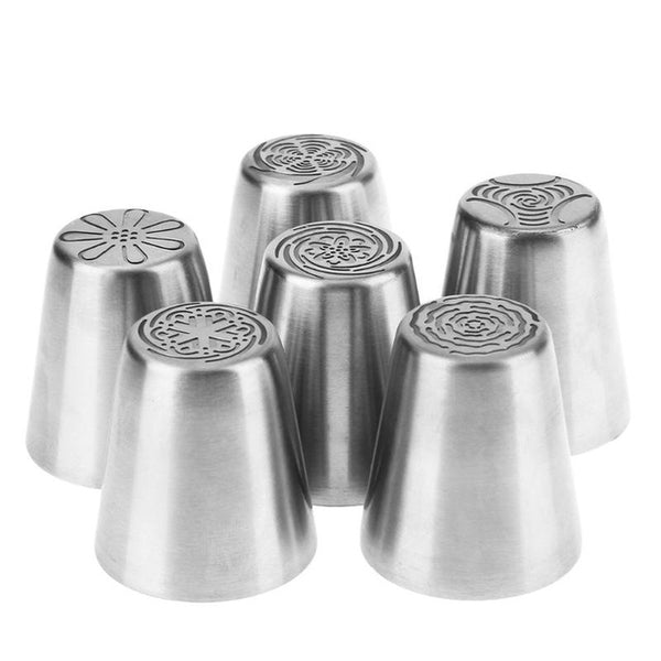 6 piece Stainless Steel Cake icing fondant gumpaste sugarcraft pipping tips - MY CAKE PLACE