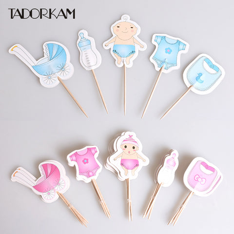 Gender Reveal baby shower Cake Cupcake pick toppers - MY CAKE PLACE