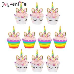 24 piece Unicorn Cupcake Cake Wrappers and Toppers - MY CAKE PLACE