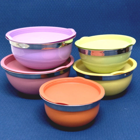 Set of 5 coated Stainless Steel nesting Mixing Bowls with Lids - MY CAKE PLACE