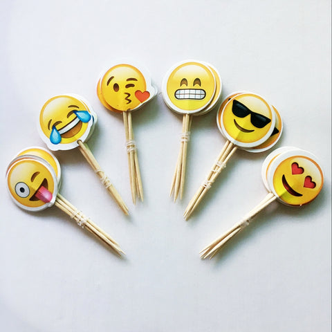 24 piece Emoji Cupcake pick Topper - MY CAKE PLACE