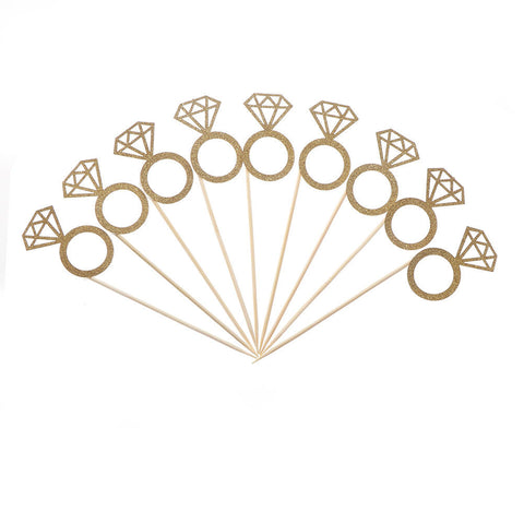 10 piece Gold Glitter Diamond Ring Cupcake wedding Toppers - MY CAKE PLACE
