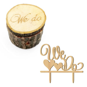 Rustic WE DO cake topper and ring box - MY CAKE PLACE