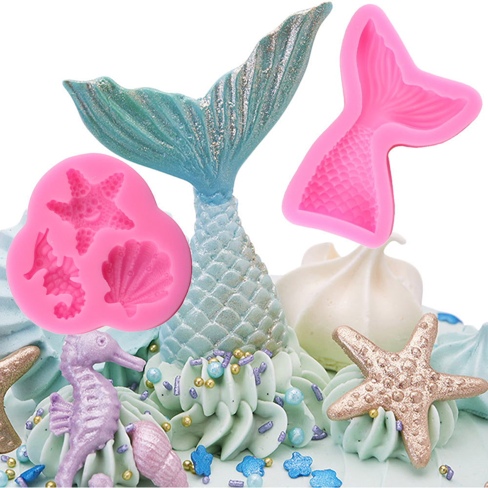 2piece/Set Silicone Mermaid Tail Shell Starfish Sea Horse  Cupcake Fondant Chocolate sugarcraft gumpaste clay Molds - MY CAKE PLACE