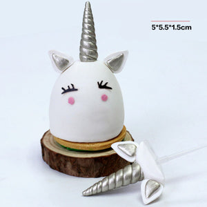 Unicorn Party Decorations Cake Toppers Silver Unicorn Ears for Cupcake - MY CAKE PLACE