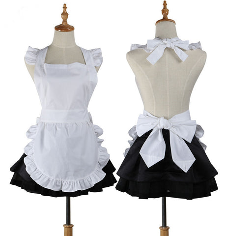 Plain White Cotton Ruffle Waitress Cosplay Pinafore Short Apron - MY CAKE PLACE
