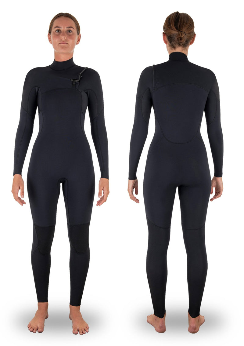 needessentials womens 3/2 chest zip thermal winter wetsuit surfing black non branded