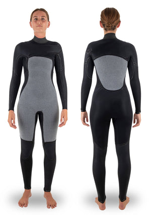 needessentials womens 3/2 chest zip thermal winter wetsuit surfing