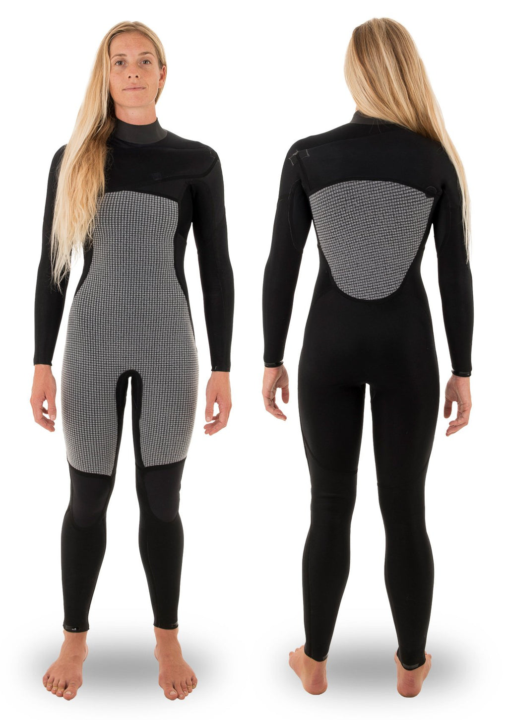 needessentials womens 5/4 chest zip thermal winter wetsuit surfing black non branded coldwater