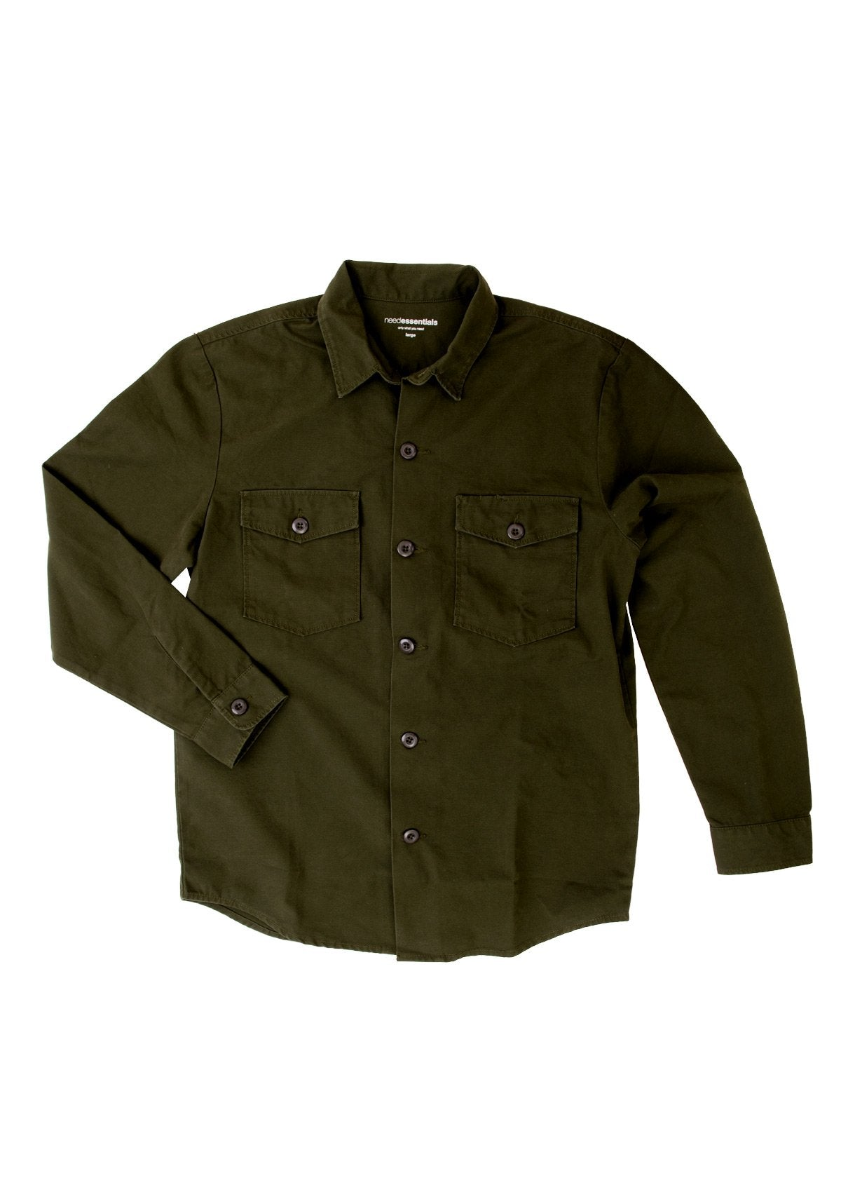 needessentials organic cotton heavy weight shirt olive