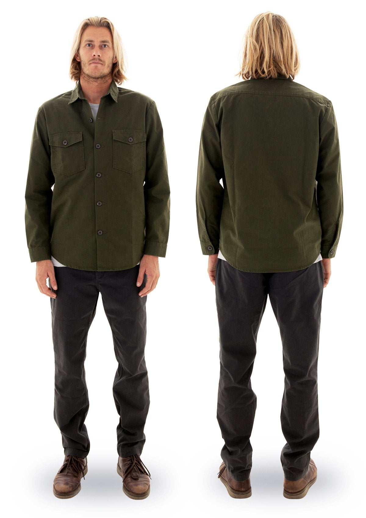 needessentials organic cotton heavy weight shirt olive torren martyn