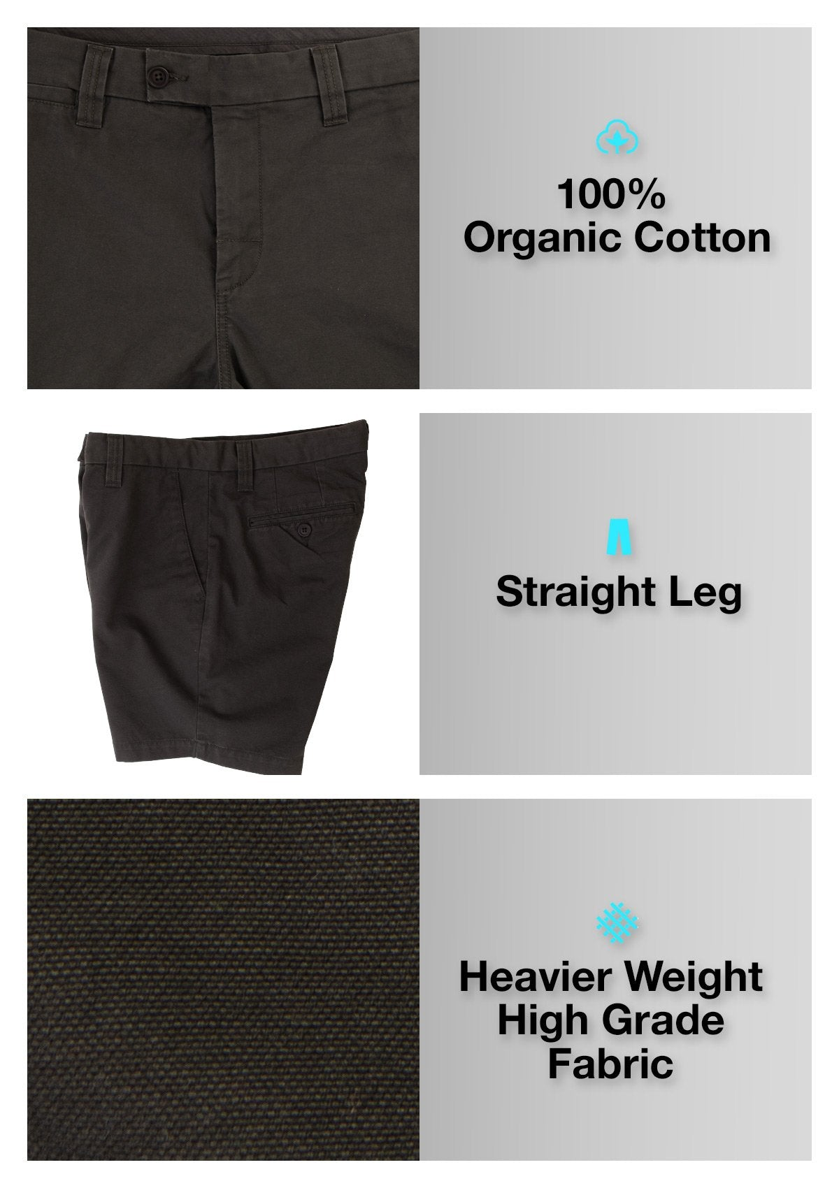Organic Cotton Walkshort - Twilight Black