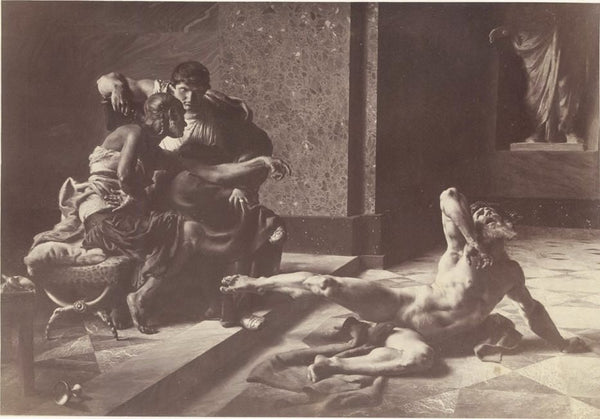 """Locusta testing in Nero's presence the poison prepared for Britannicus"", painting by Joseph-Noël Sylvestre, 1876"