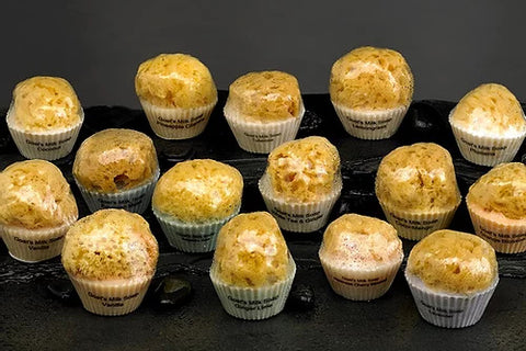 GOAT'S MILK AND OLIVE OIL CUPCAKE SOAP WITH EMBEDDED SEA SPONGE