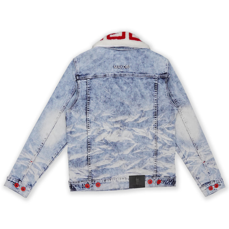 M1062 Denim Jacket W/ Sherpa Collar - Light Wash