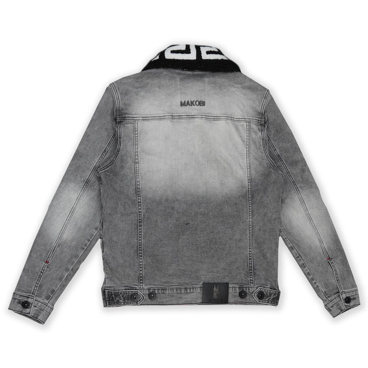 M1062 Denim Jacket W/ Sherpa Collar - Grey