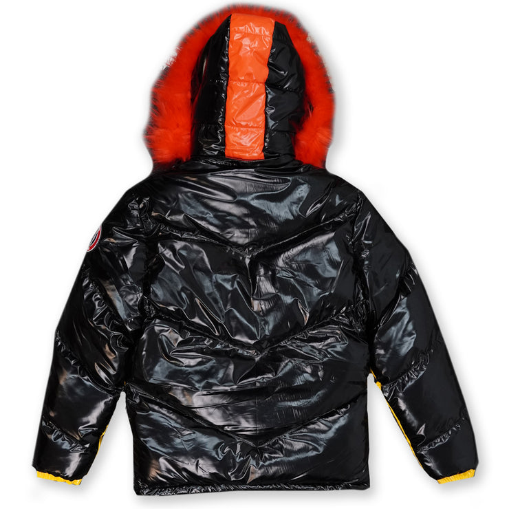 M7730 Michael PU Coated Puffer Jacket -Black/Orange