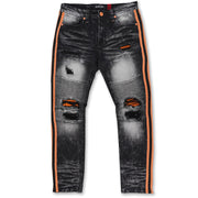 M1986 Ozarks Shredded Jeans w/ Side Tapes - Black/Peach