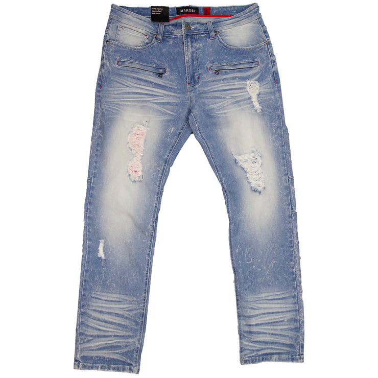"M1910 Makobi ""Sanibel"" Shredded Jean with Suede - Light/Wash"