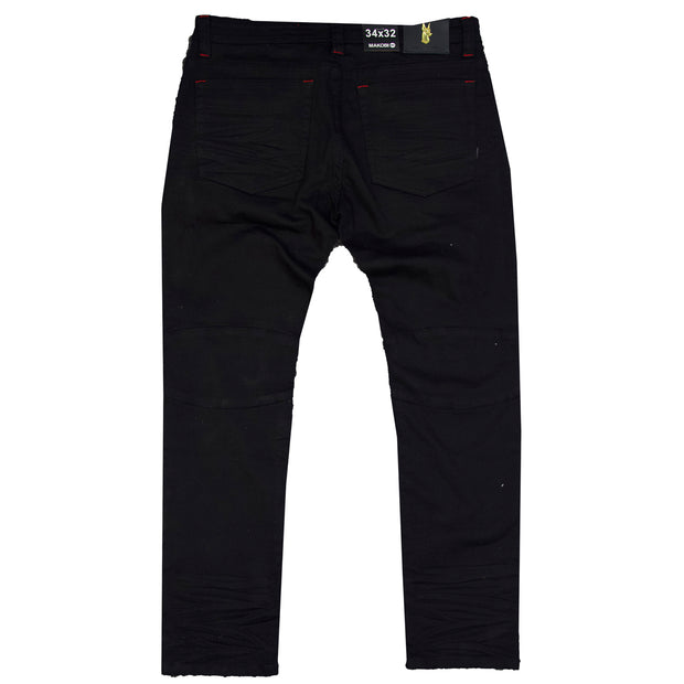 "M1910 Makobi ""Sanibel"" Shredded Jean with Suede - Black"