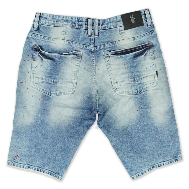 M920 Stinson Shredded Shorts w/Paint Splash - Light Wash