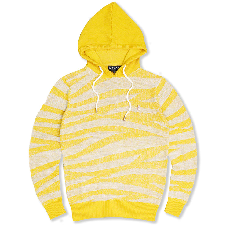 M5050 Tiger Knit Hoody Sweater - Wheat